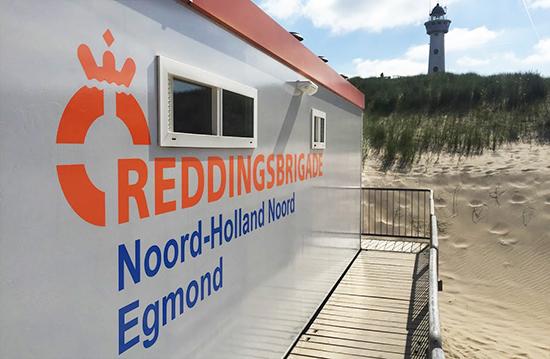 Reddingsbrigade Egmond buitenreclame belettering zijkant bedrijfsgebouw